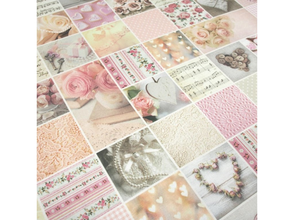 6293 dekoracni latka staroruzovy patchwork