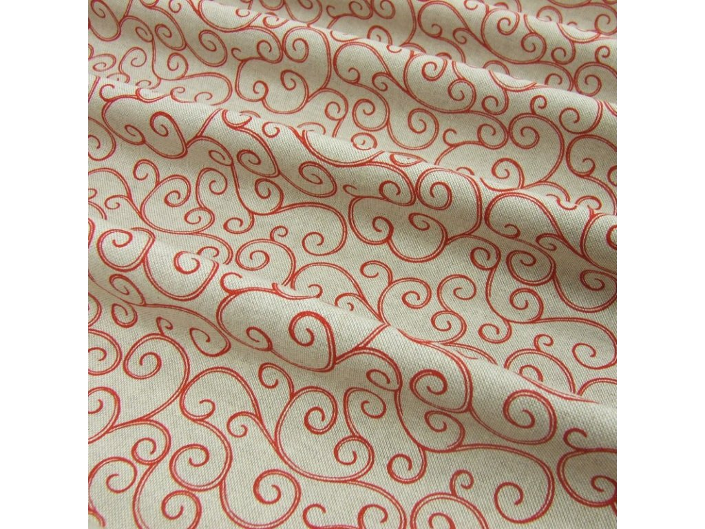 6332 dekoracni latka cerveny krouceny vzor