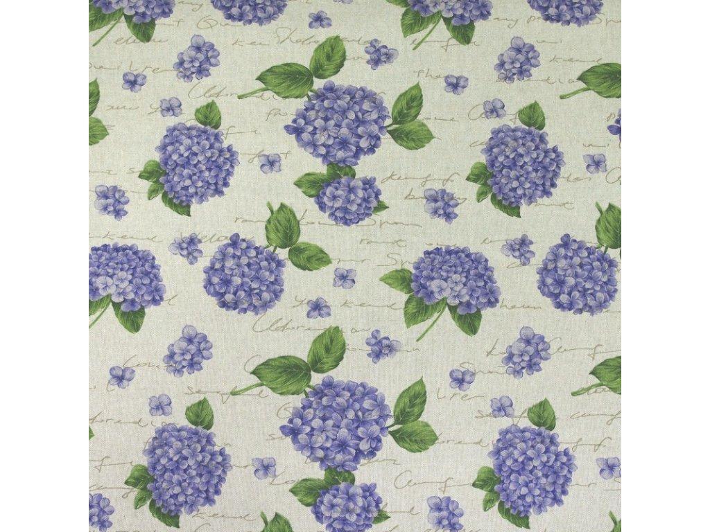 6431 dekoracni latka modre hortenzie