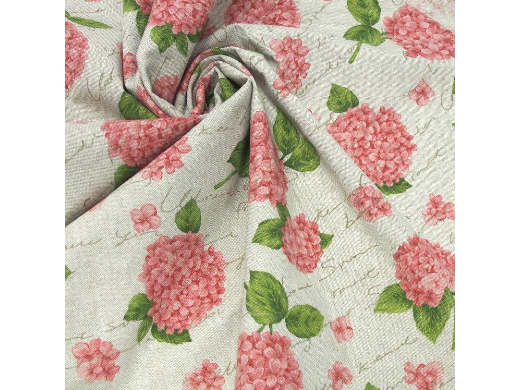 6437 dekoracni latka ruzove hortenzie