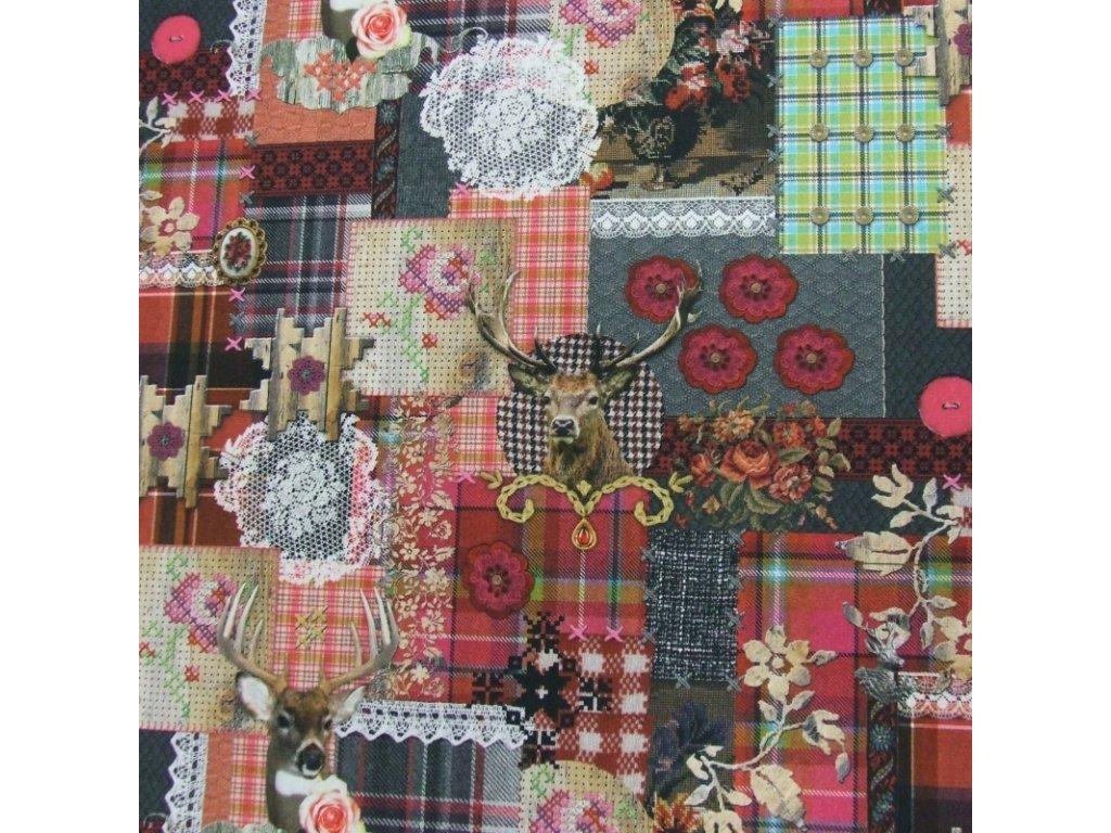 6470 dekoracni latka jelen ruze patchwork