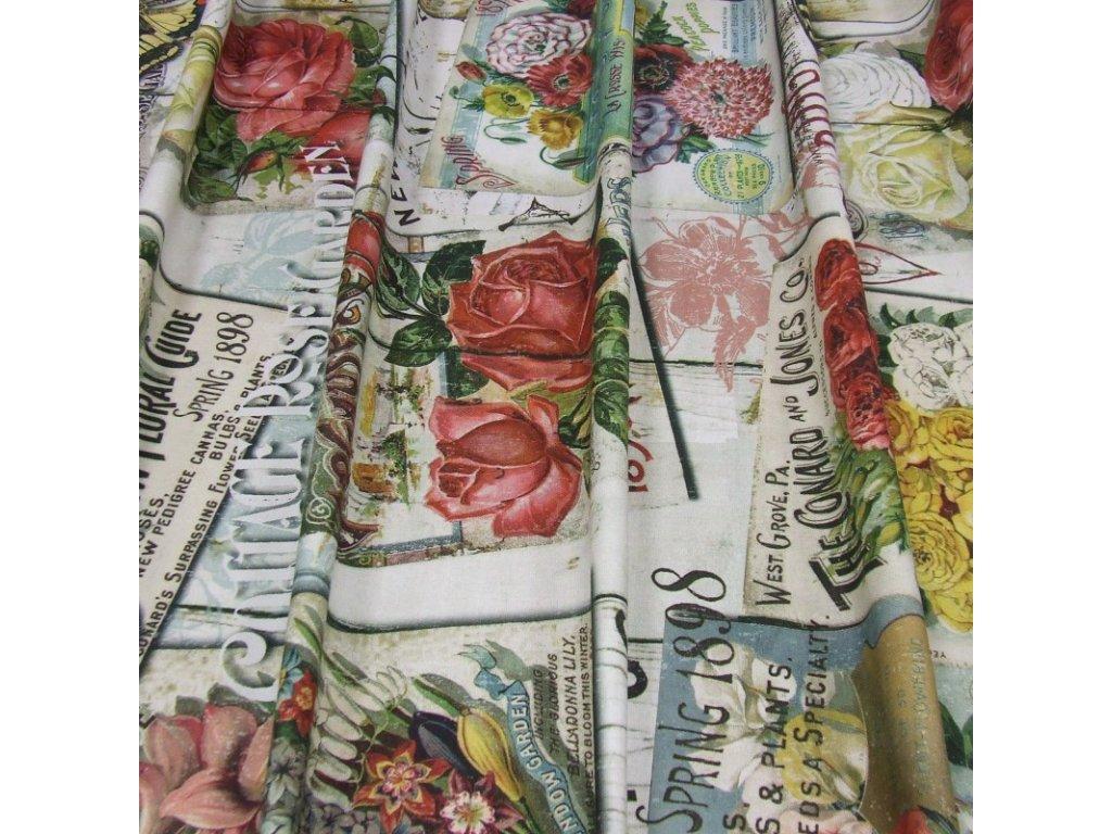 6521 dekoracni latka vintage ruze motyl