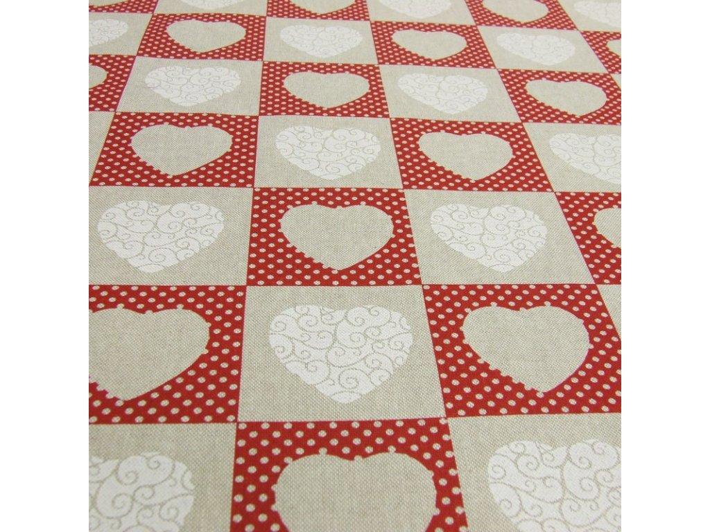 6554 dekoracni latka srdce puntikate patchwork