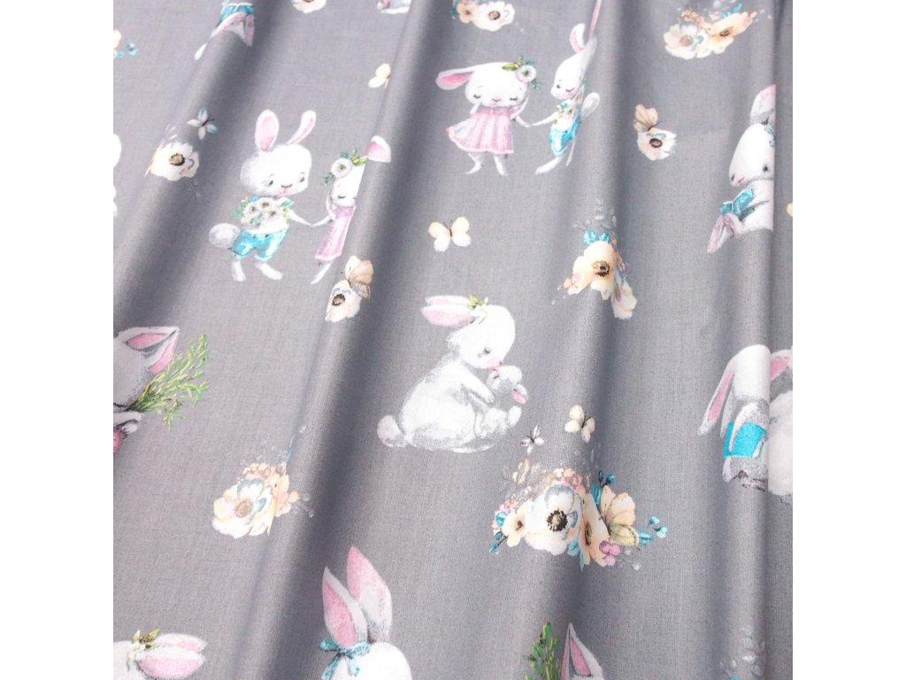 bavlněná látka králíci na šedé (3)