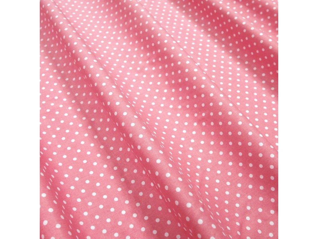 bavlněná látka starorůžové puntíky (2)
