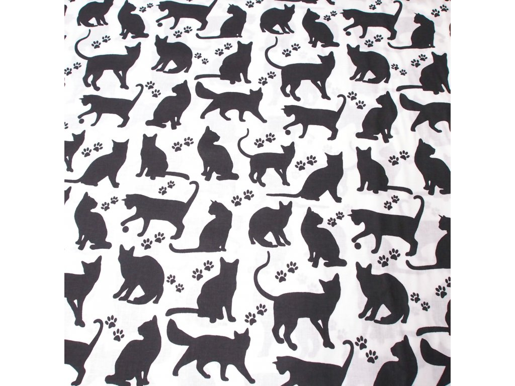 bavlněná látka kočky černobílé