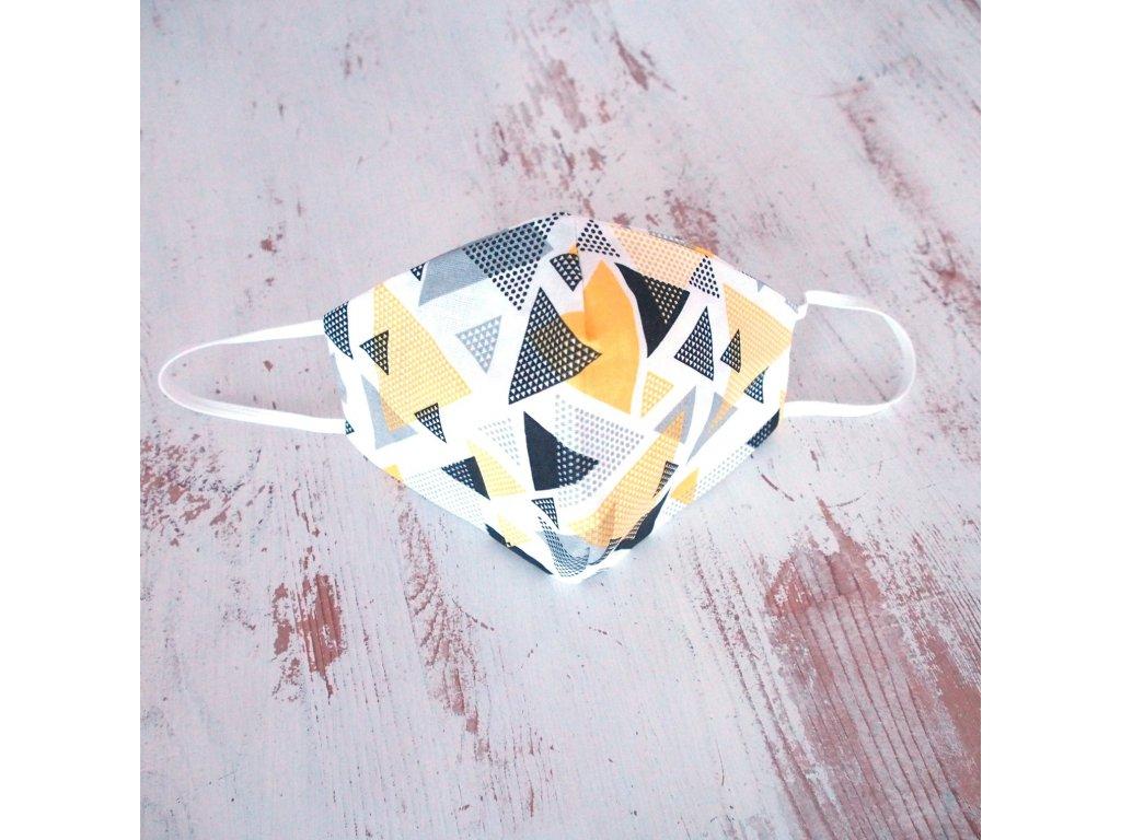 Bavlněná rouška dvouvrstvá žluté trojúhelníky