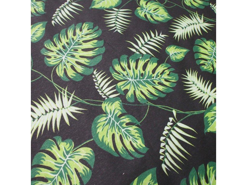 bavlněná látka zelené listy (2)