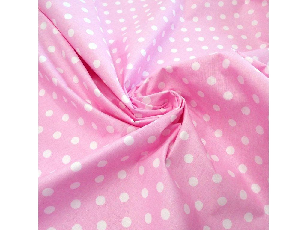 bavlněná látka růžový puntík (3)