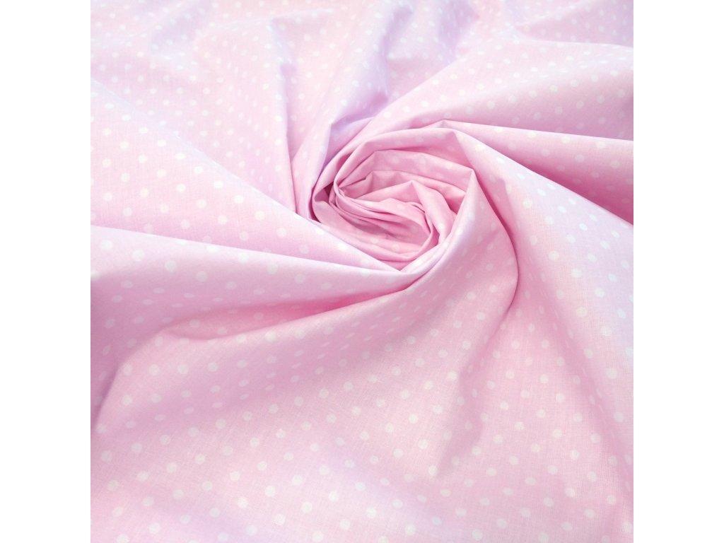 bavlněná látka světle růžový puntík (3)