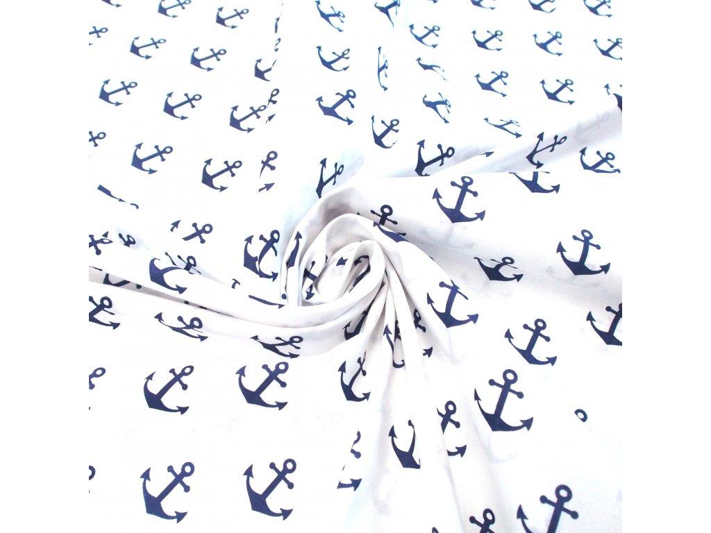 bavlněná látka modré kotvy (3)