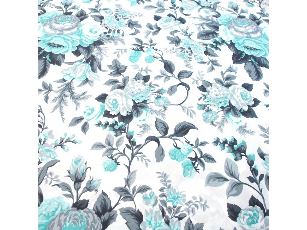 bavlněná látka mint květy