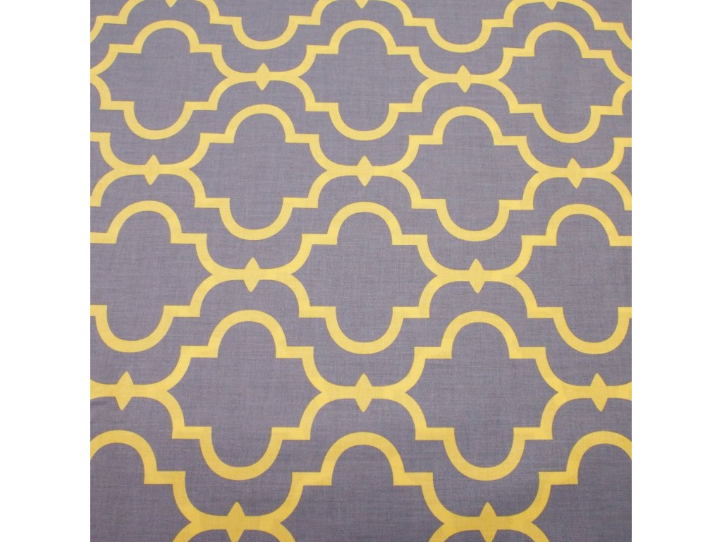 bavlněná látka šedo žlutý vzor