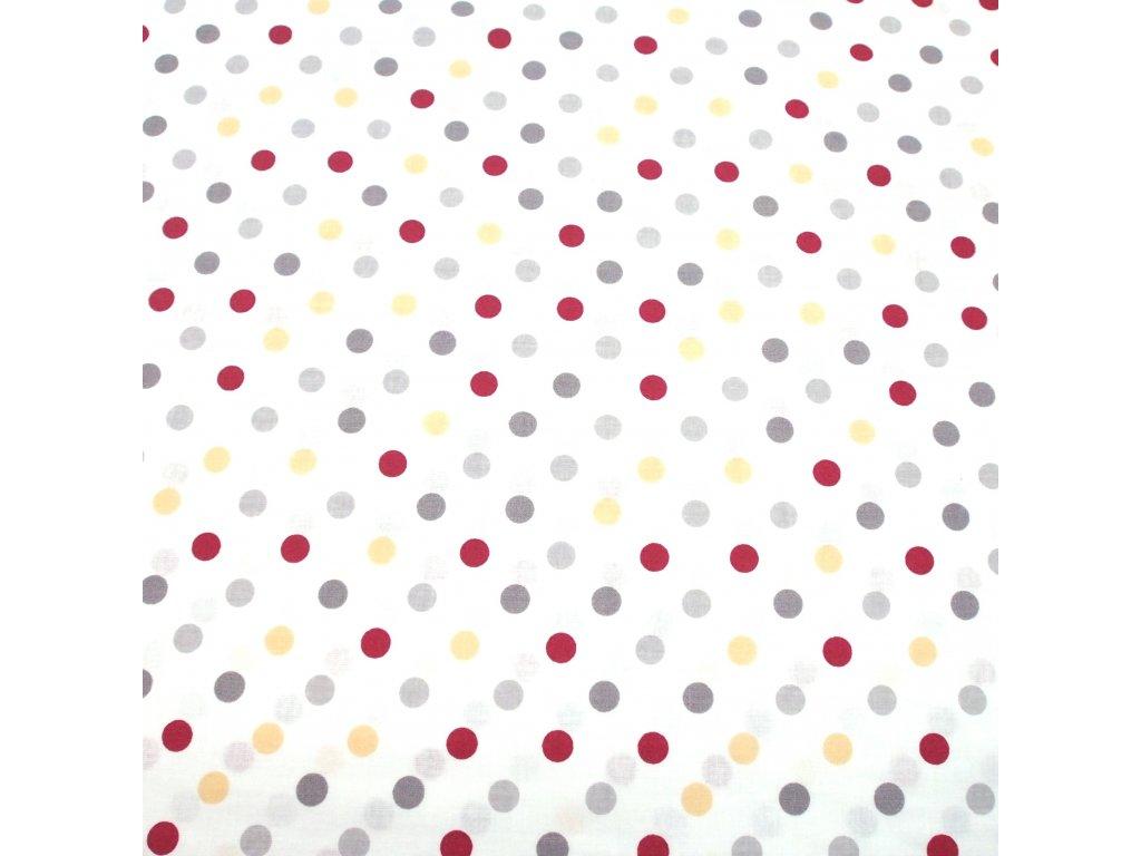 bavlněná látka žluté puntíky (2)