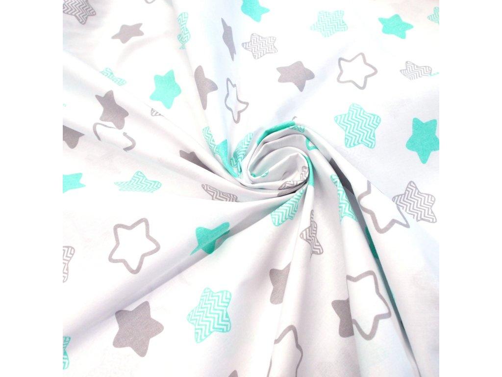 bavlněná látka mint hvězdy (3)