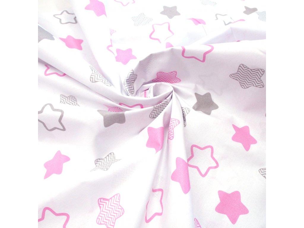 bavlněná látka růžové hvězdy (3)