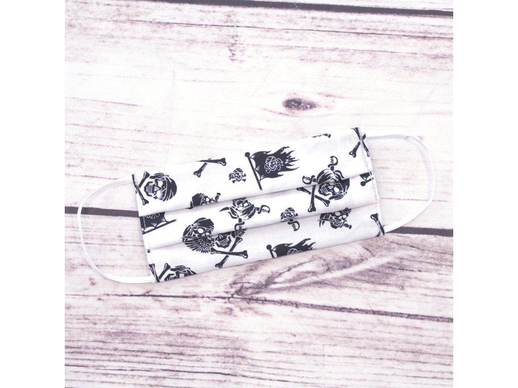 Bavlněná rouška pro náctileté lebky na bílé