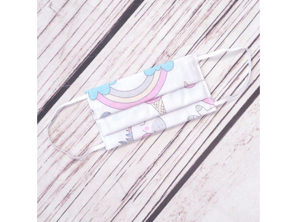 Dětská bavlněná rouška - jednorožec
