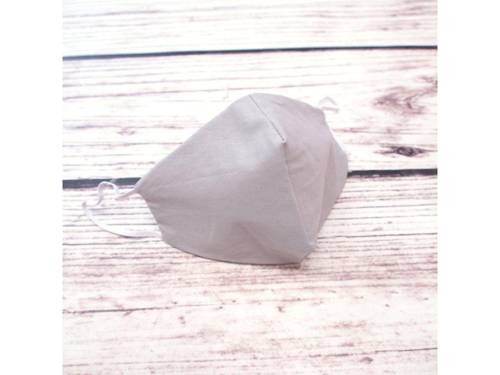 Bavlněná rouška dvouvrstvá šedá