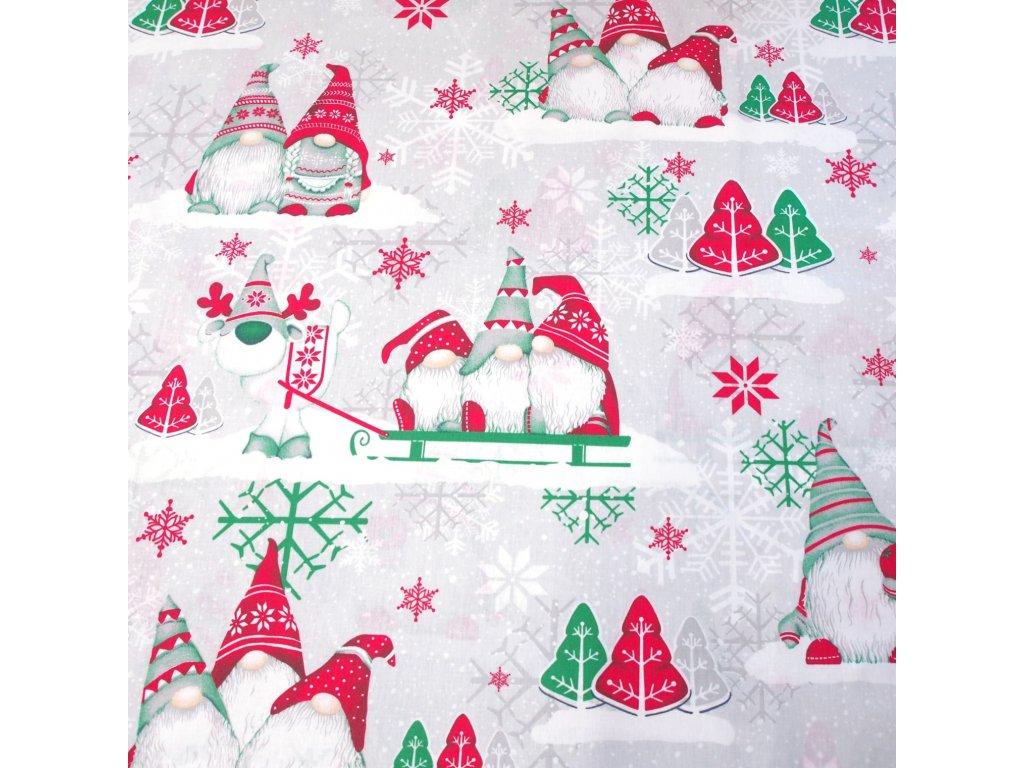 vánoční látka zelení skřítci (1)