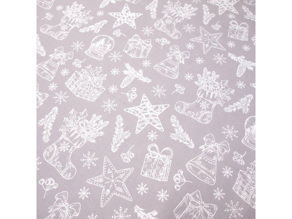 vánoční látka vánoční nadílka v šedé
