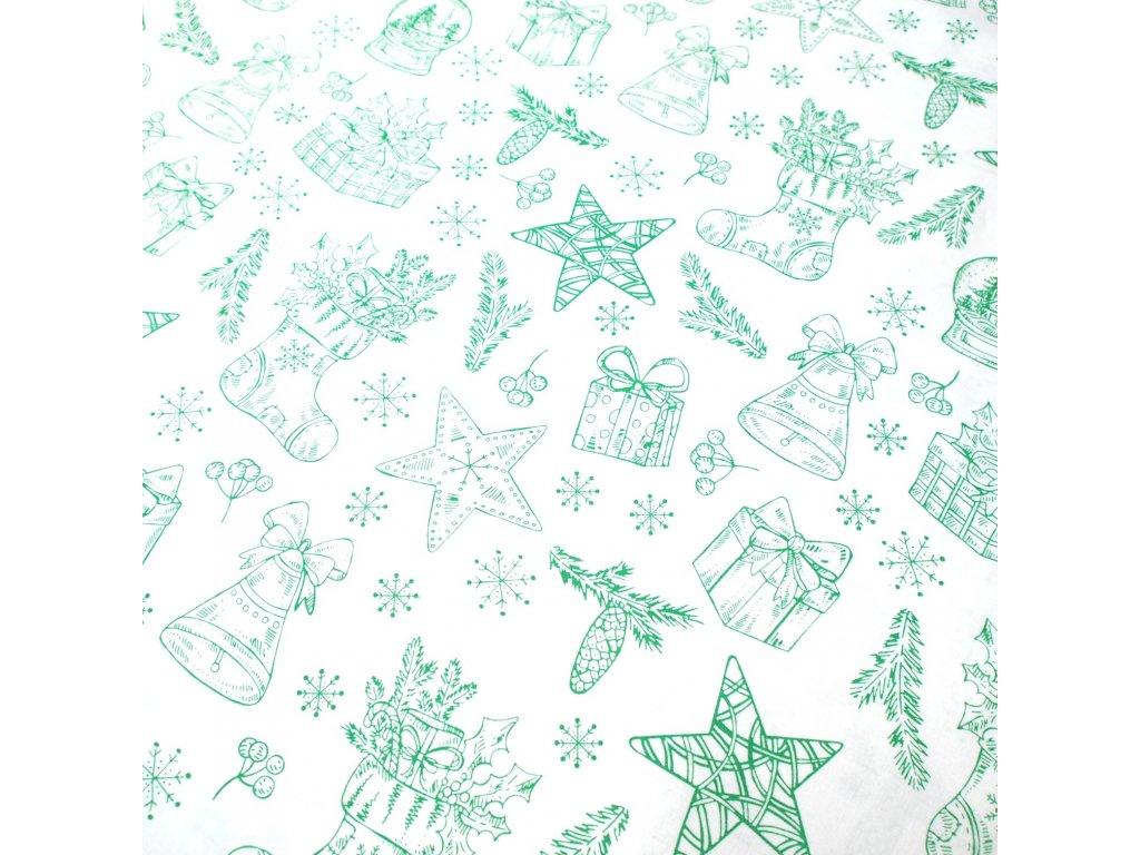 vánoční látka vánoční nadílka v zelené
