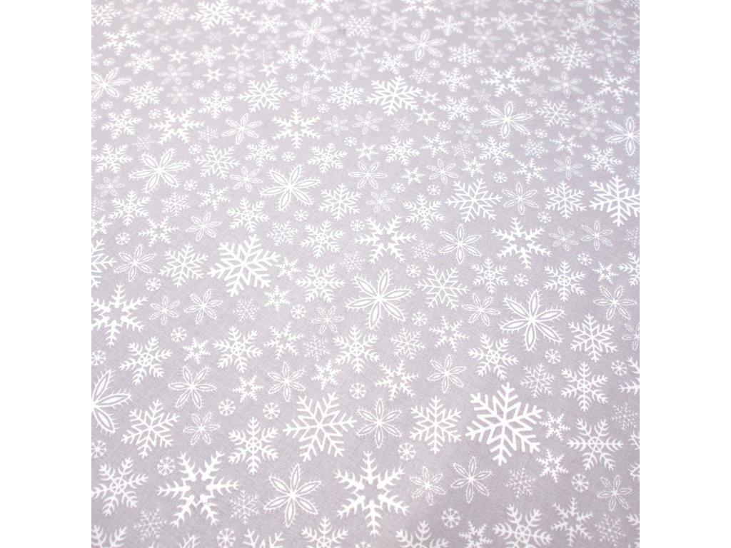 vánoční látka vločky šedé (4)