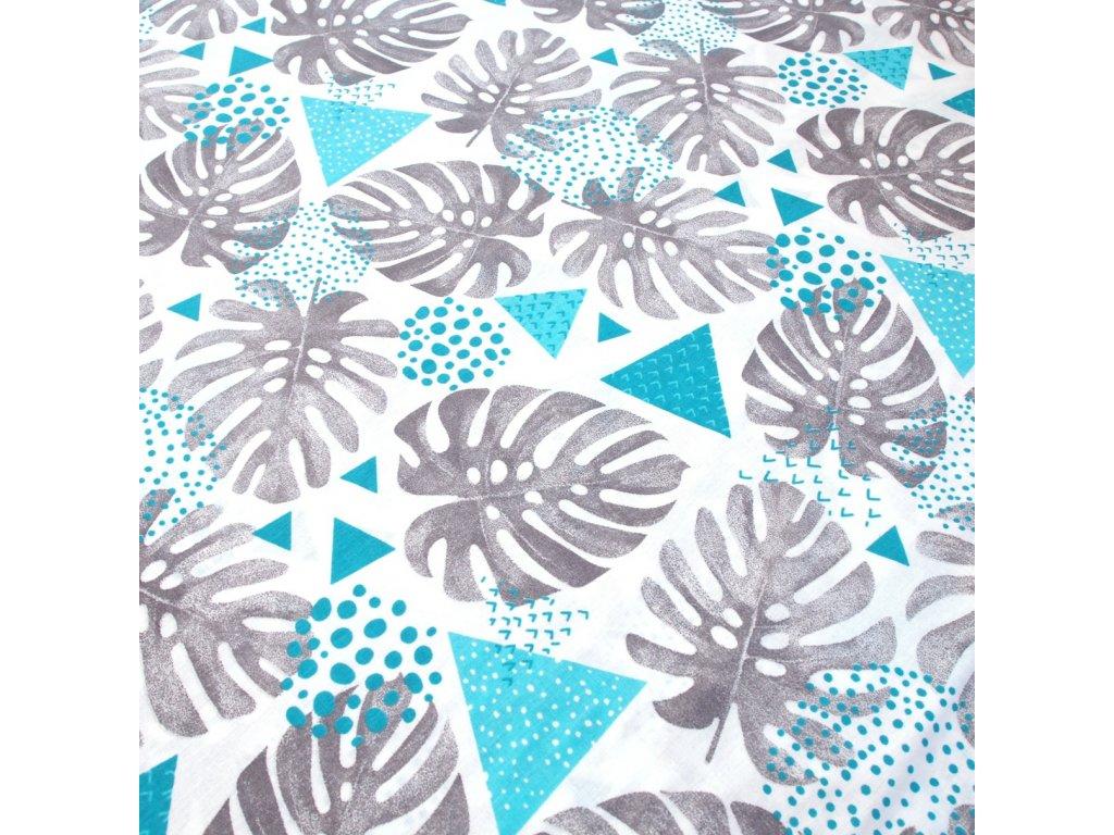 bavlněná látka listy v modré