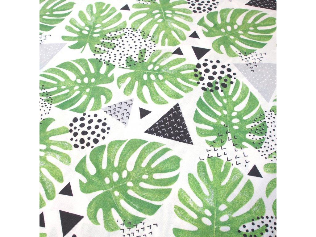 bavlněná látka listy v zelené