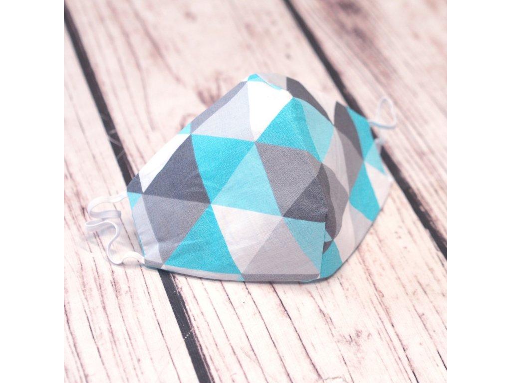Bavlněná rouška dvouvrstvá tyrkys trojúhelníky
