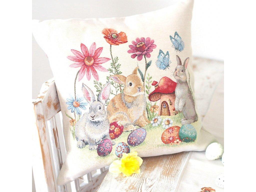 polštářek králíčci 45cm x 45cm (2)