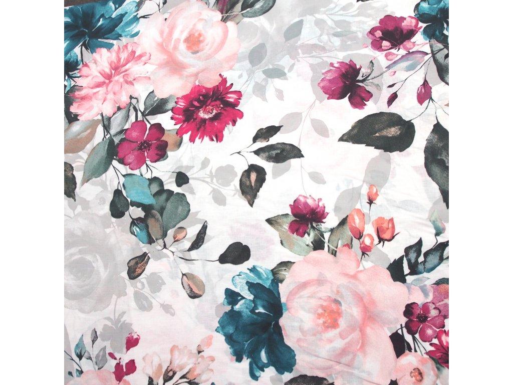 bavlněná látka malovaná růže