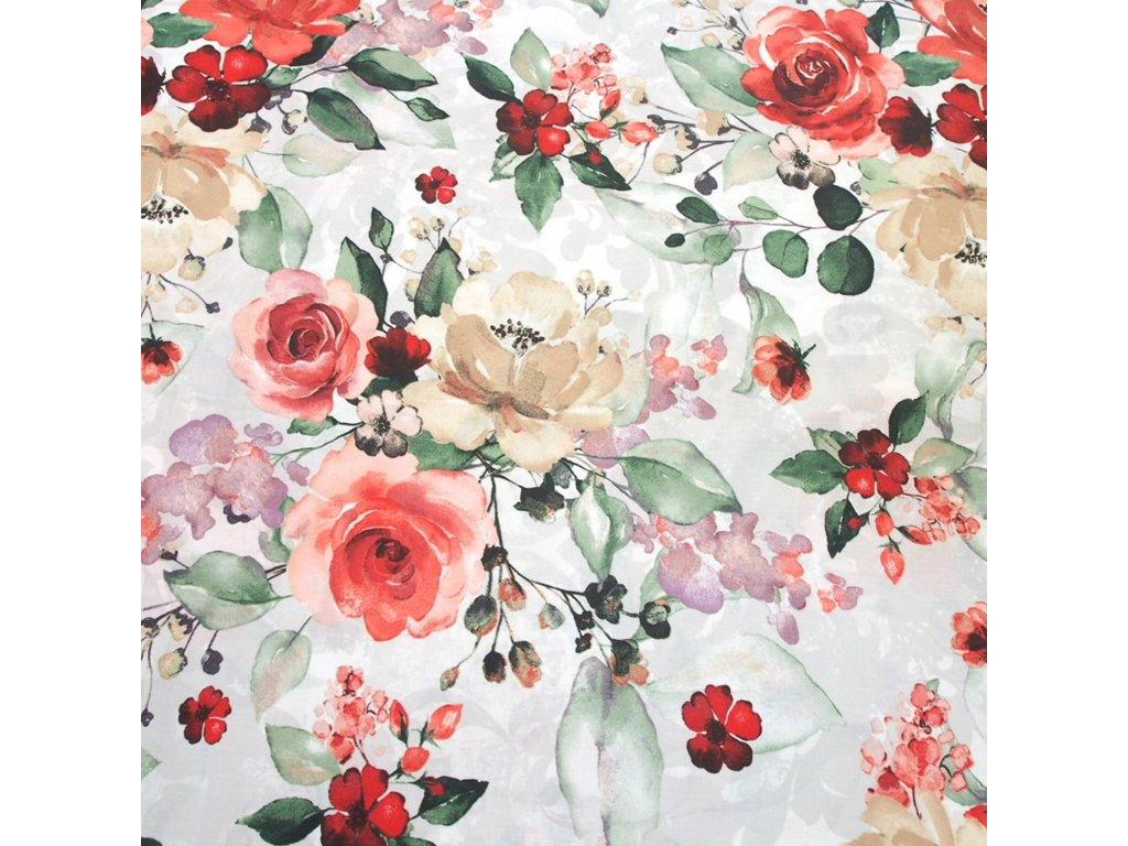 bavlněná látka malovaná růže červené (4)