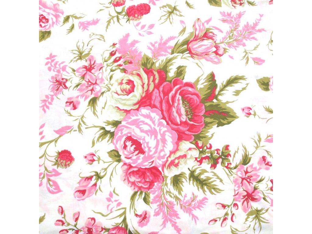 bavlněná látka růžové růže (4)