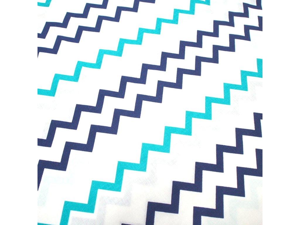 bavlněná látka tyrkysovo modrý ševron