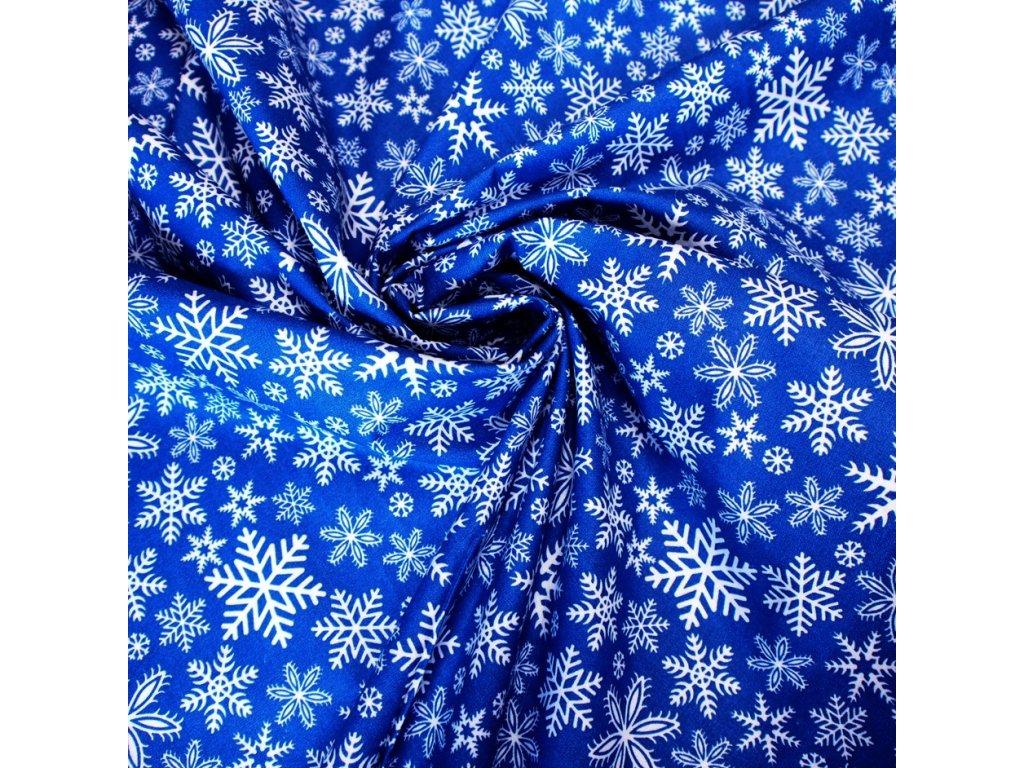 vánoční látka modré vločky (4)