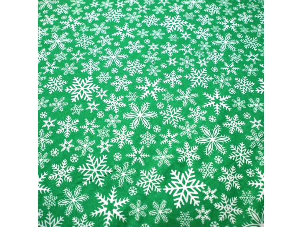 vánoční látka zelené vločky