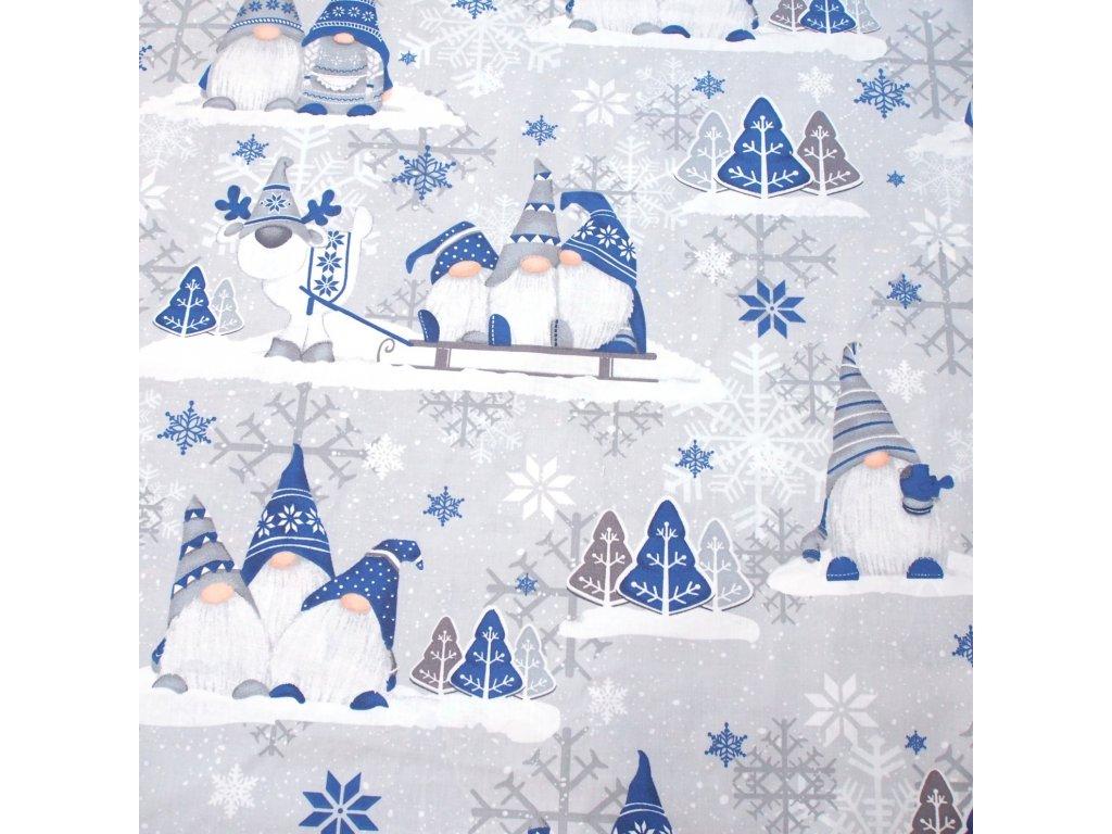 vánoční látka skřítci do modra
