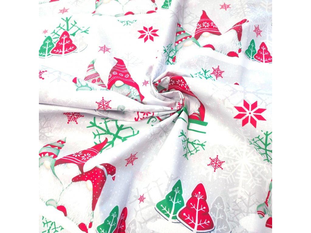 vánoční látka zelení skřítci (3)