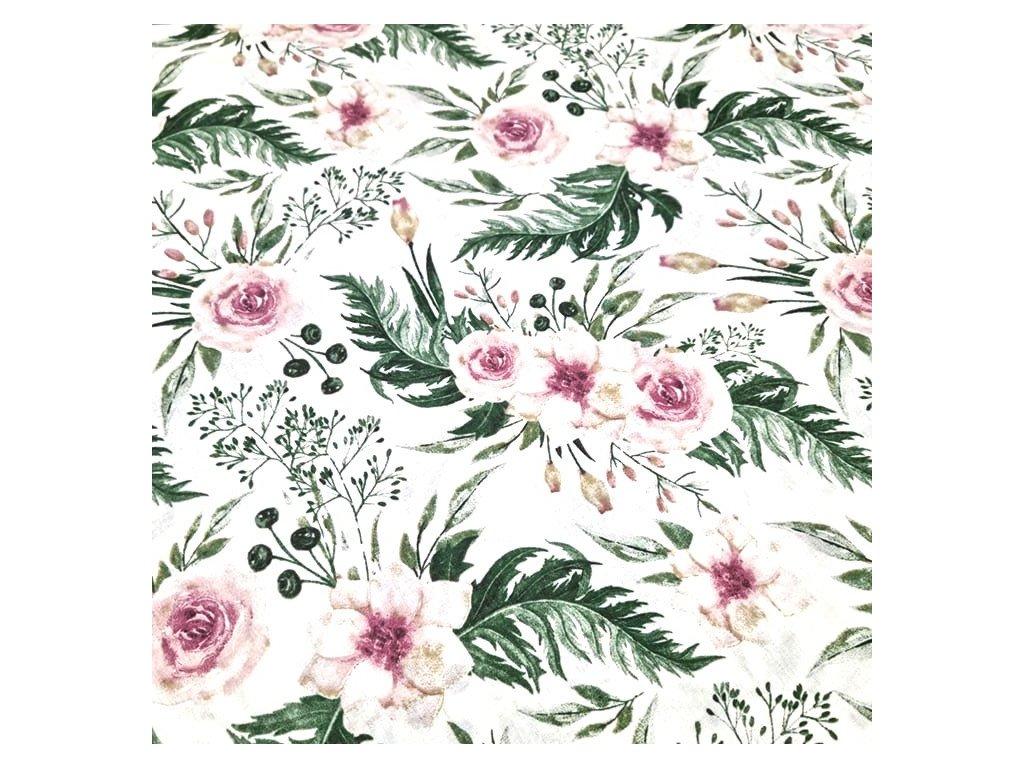 bavlněná látka starorůžová růže (2)