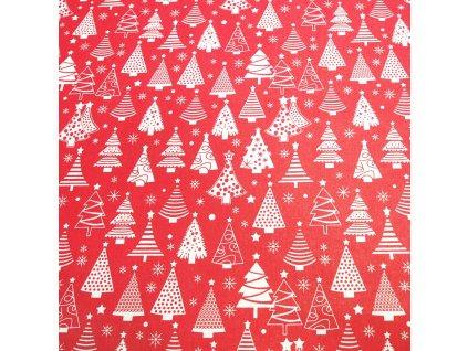 4433 vanocni latka bile stromky na cervene