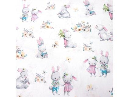 bavlněná látka králíci na bílé