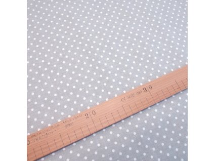 bavlněná látka bílý puntík na šedé (2)