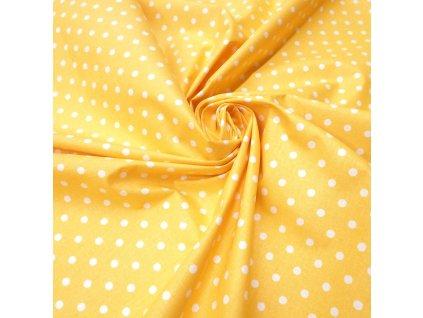 bavlněná látka žlutý puntík (3)