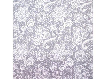 bavlněná látka krajkovaná šedá