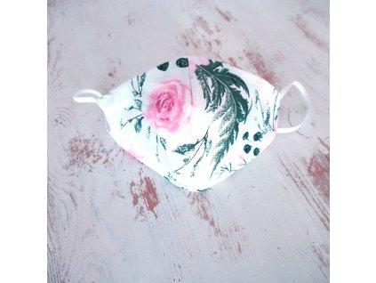 Bavlněná rouška dvouvrstvá růžička