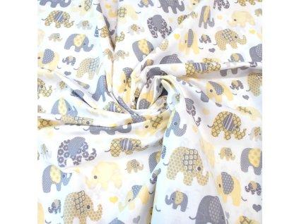 bavlněná látka žlutí sloni (3)
