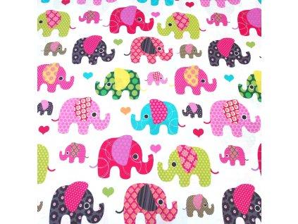 bavlněná látka barevní sloni