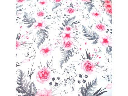 bavlněná látka lososové růže