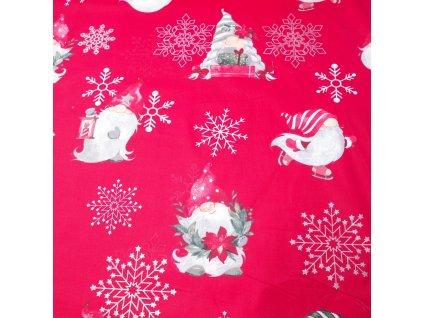 vánoční látka skřítci na červené
